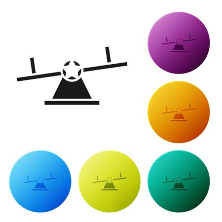 Black Seesaw icon isolated on white background. Teeter equal board. Playground symbol. Set icons colorful circle buttons. Vector Illustration