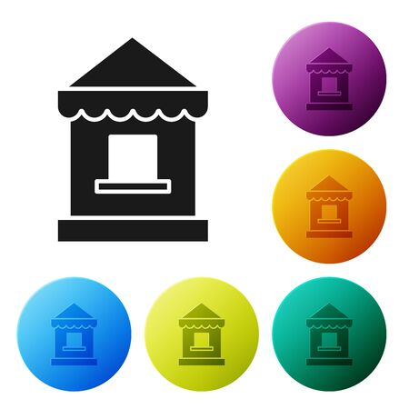 Black Ticket box office icon isolated on white background. Ticket booth for the sale of tickets for attractions and sports. Set icons colorful circle buttons. Vector Illustration