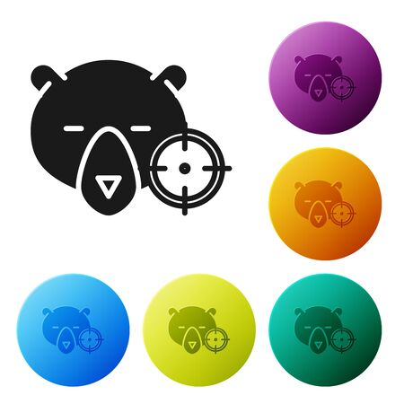 Black Hunt on bear with crosshairs icon isolated on white background. Hunting club with bear and target. Rifle lens aiming a bear. Set icons colorful circle buttons. Vector Illustration