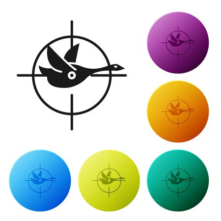 Black Hunt on duck with crosshairs icon isolated on white background.