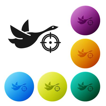 Black Hunt on duck with crosshairs icon isolated on white background. Hunting club  with duck and target. Rifle lens aiming a duck. Set icons colorful circle buttons. Vector Illustration  イラスト・ベクター素材
