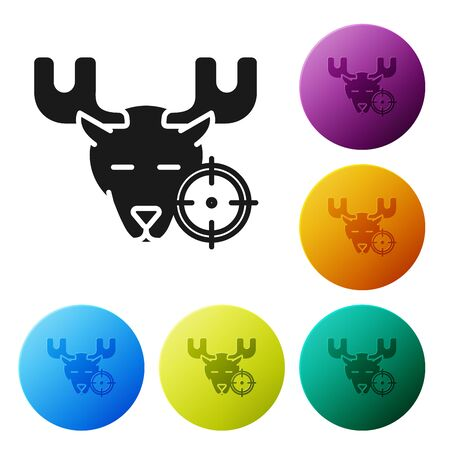 Black Hunt on moose with crosshairs icon isolated on white background.