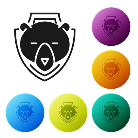Black Bear head on shield icon isolated on white background. Hunting trophy on wall. Set icons colorful circle buttons. Vector Illustration