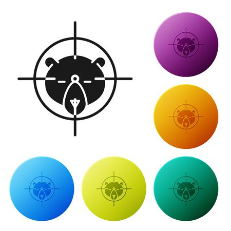 Black Hunt on bear with crosshairs icon isolated on white background. Hunting club logo with bear and target. Rifle lens aiming a bear. Set icons colorful circle buttons. Vector Illustration