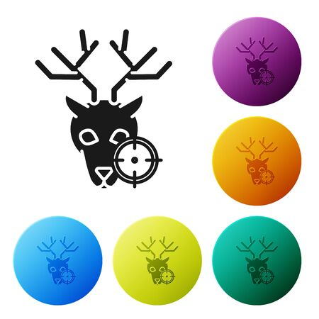 Black Hunt on deer with crosshairs icon isolated on white background. Hunting club  with deer and target. Rifle lens aiming a deer. Set icons colorful circle buttons. Vector Illustration