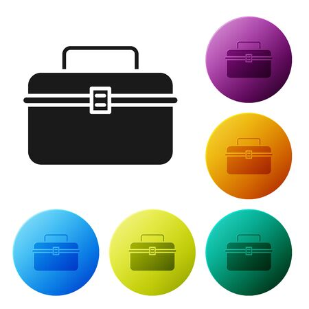 Black Case or box container for wobbler and gear fishing equipment icon isolated on white background. Fishing tackle. Set icons colorful circle buttons. Vector Illustration