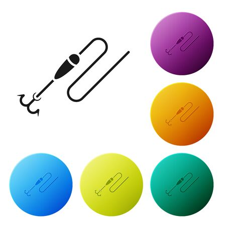 Black Fishing line with hook and float icon isolated on white background. Fishing tackle. Set icons colorful circle buttons. Vector Illustration