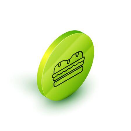 Isometric line Sandwich icon isolated on white background. Hamburger icon. Burger food symbol. Cheeseburger sign. Street fast food menu. Green circle button. Vector Illustration Standard-Bild - 129045431