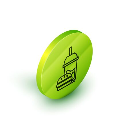 Isometric line Paper glass with drinking straw and burger icon isolated on white background. Soda aqua drink sign. Hamburger, cheeseburger sandwich. Green circle button. Vector Illustration 일러스트