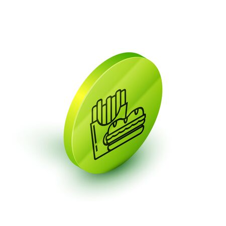 Isometric line Burger and french fries in carton package box icon isolated on white background. Hamburger, cheeseburger sandwich. Fast food menu. Green circle button. Vector Illustration