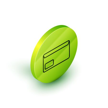 Isometric line Envelope icon isolated on white background. Email message letter symbol. Green circle button. Vector Illustration