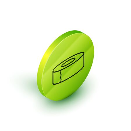 Isometric line Scotch icon isolated on white background. Roll of adhesive tape for work and repair. Sticky packing tape. Office tool and stuff. Green circle button. Vector Illustration