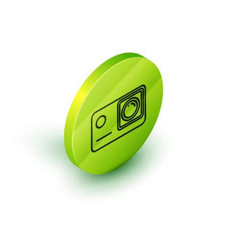 Isometric line Action extreme camera icon isolated on white background. Video camera equipment for filming extreme sports. Green circle button. Vector Illustration Illustration