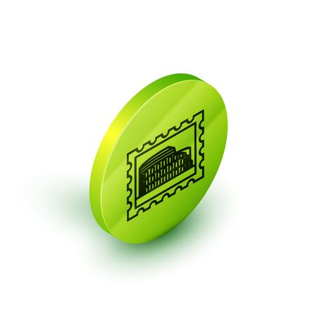 Isometric line Postal stamp and Coliseum icon isolated on white background. Colosseum sign. Symbol of Ancient Rome, gladiator fights. Green circle button. Vector Illustration Illustration
