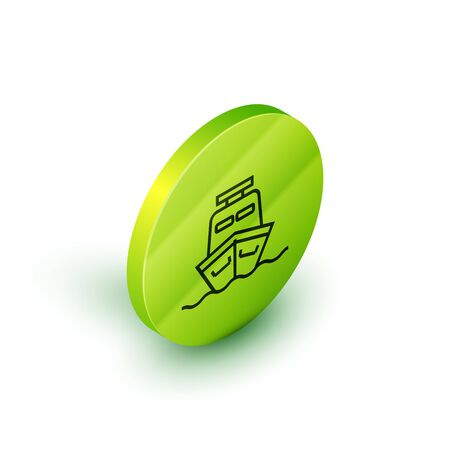 Isometric line Ship icon isolated on white background. Green circle button. Vector Illustration 일러스트