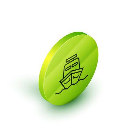 Isometric line Ship icon isolated on white background. Green circle button. Vector Illustration Ilustração