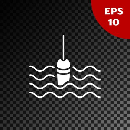 White Fishing float in water icon isolated on transparent dark background. Fishing tackle. Vector Illustration 일러스트