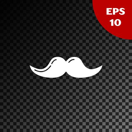 White Mustache icon isolated on transparent dark background. Barbershop symbol. Facial hair style. Vector Illustration 矢量图像