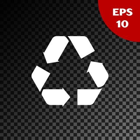 White Recycle symbol icon isolated on transparent dark background. Circular arrow icon. Environment recyclable go green. Vector Illustration