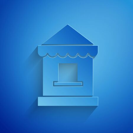 Paper cut Ticket box office icon isolated on blue background. Ticket booth for the sale of tickets for attractions and sports. Paper art style. Vector Illustration 일러스트
