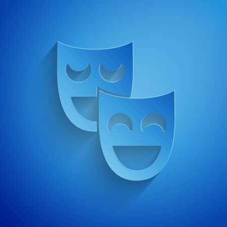 Paper cut Comedy theatrical masks icon isolated on blue background. Paper art style. Vector Illustration Иллюстрация