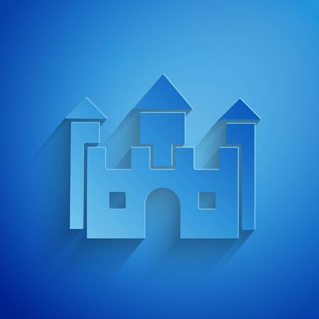 Paper cut Castle icon isolated on blue background. Paper art style. Vector Illustration