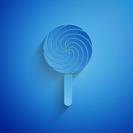 Paper cut Lollipop icon isolated on blue background. Food, delicious symbol. Paper art style. Vector Illustration