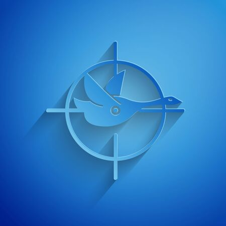 Paper cut Hunt on duck with crosshairs icon isolated on blue background. Hunting club with duck and target. Rifle lens aiming a duck. Paper art style. Vector Illustration Ilustrace