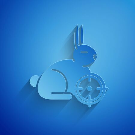 Paper cut Hunt on rabbit with crosshairs icon isolated on blue background. Hunting club with rabbit and target. Rifle lens aiming a hare. Paper art style. Vector Illustration