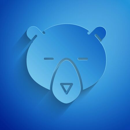Paper cut Bear head icon isolated on blue background. Paper art style. Vector Illustration
