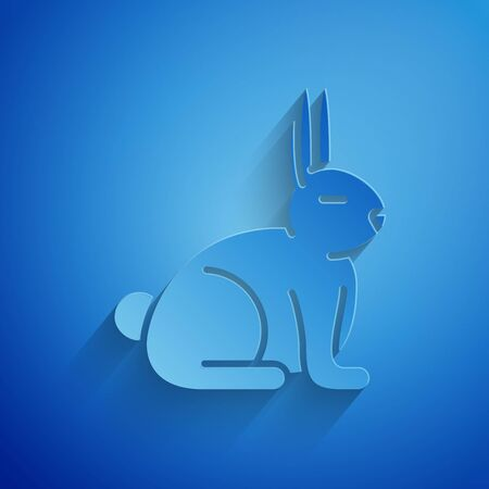 Paper cut Rabbit icon isolated on blue background. Paper art style. Vector Illustration Иллюстрация