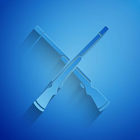 Paper cut Two crossed shotguns icon isolated on blue background. Hunting gun. Paper art style. Vector Illustration  イラスト・ベクター素材