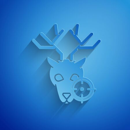 Paper cut Hunt on deer with crosshairs icon isolated on blue background. Hunting club with deer and target. Rifle lens aiming a deer. Paper art style. Vector Illustration Иллюстрация