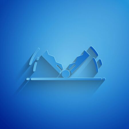 Paper cut Trap hunting icon isolated on blue background. Paper art style. Vector Illustration