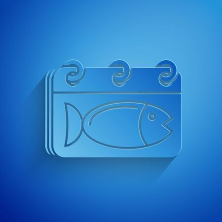 Paper cut Calendar with a fish icon isolated on blue background. Day of fish. Paper art style. Vector Illustration