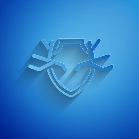 Paper cut Deer antlers on shield icon isolated on blue background. Hunting trophy on wall. Paper art style. Vector Illustration