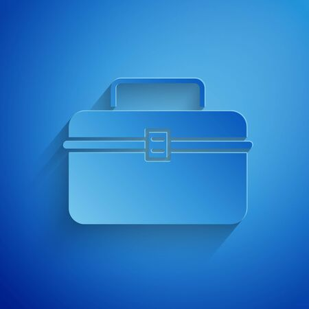 Paper cut Case or box container for wobbler and gear fishing equipment icon isolated on blue background. Fishing tackle. Paper art style. Vector Illustration