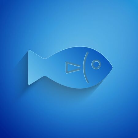 Paper cut Fish icon isolated on blue background. Paper art style. Vector Illustration  イラスト・ベクター素材