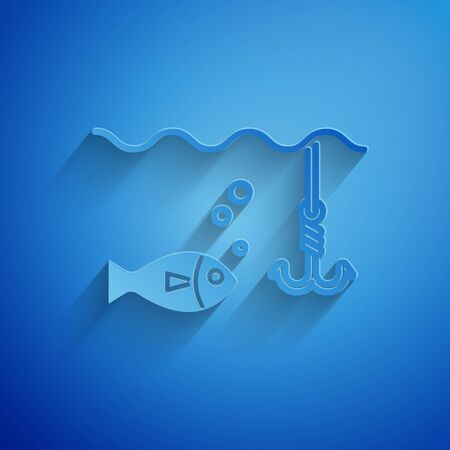 Paper cut Fishing hook under water with fish icon isolated on blue background. Fishing tackle. Paper art style. Vector Illustration Archivio Fotografico - 129115526