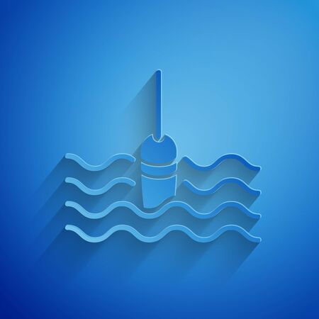 Paper cut Fishing float in water icon isolated on blue background. Fishing tackle. Paper art style. Vector Illustration