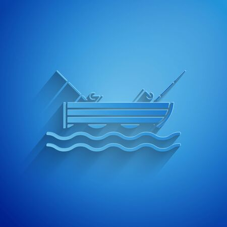 Paper cut Fishing boat with fishing rod on water icon isolated on blue background. Paper art style. Vector Illustration
