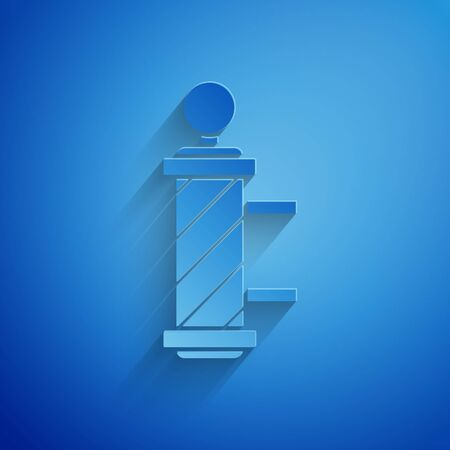 Paper cut Classic Barber shop pole icon isolated on blue background. Barbershop pole symbol. Paper art style. Vector Illustration  イラスト・ベクター素材