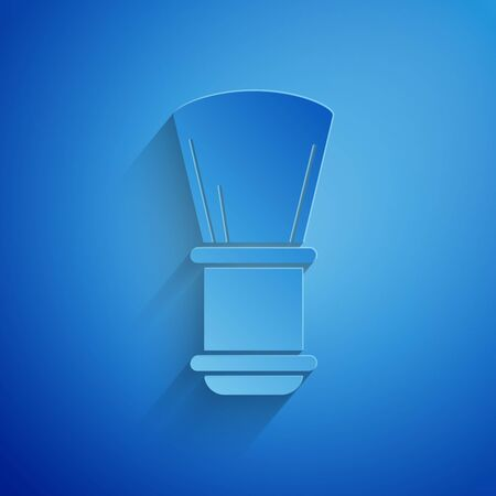 Paper cut Shaving brush icon isolated on blue background. Barbershop symbol. Paper art style. Vector Illustration