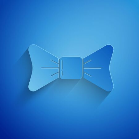 Paper cut Bow tie icon isolated on blue background. Paper art style. Vector Illustration