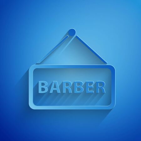Paper cut Barbershop icon isolated on blue background. Hairdresser signboard. Paper art style. Vector Illustration