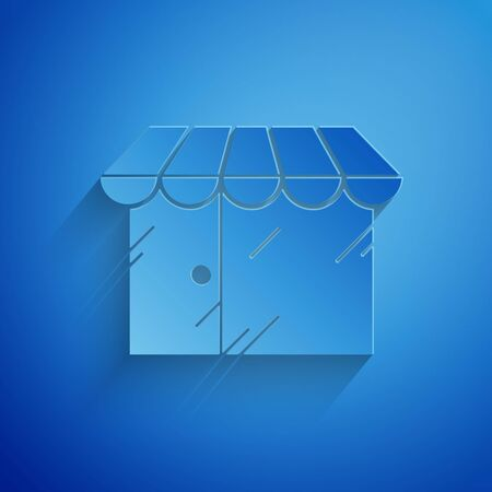 Paper cut Barbershop building icon isolated on blue background. Paper art style. Vector Illustration
