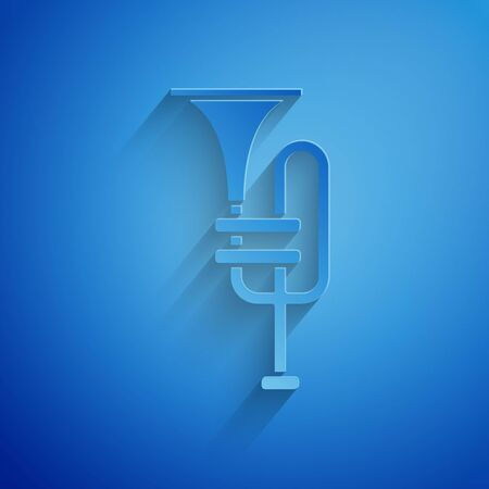 Paper cut Musical instrument trumpet icon isolated on blue background. Paper art style. Vector Illustration