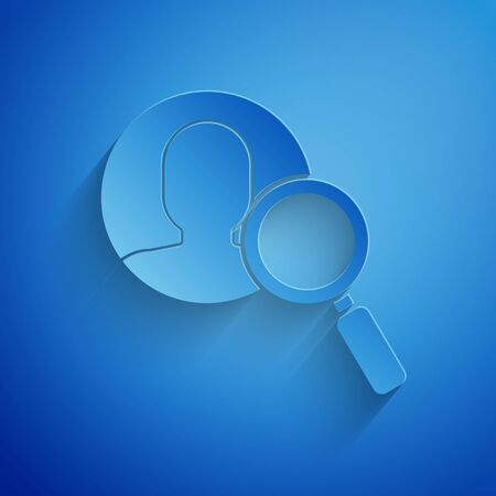 Paper cut Magnifying glass for search a people icon isolated on blue background. Recruitment or selection concept. Search for employees and job. Paper art style. Vector Illustration Çizim