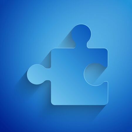 Paper cut Piece of puzzle icon isolated on blue background. Modern flat, business, marketing, finance, internet concept. Paper art style. Vector Illustration