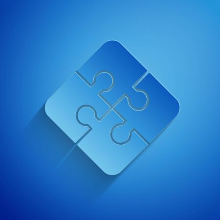 Paper cut Piece of puzzle icon isolated on blue background. Business, marketing, finance, template, layout, infographics, internet concept. Paper art style. Vector Illustration 向量圖像